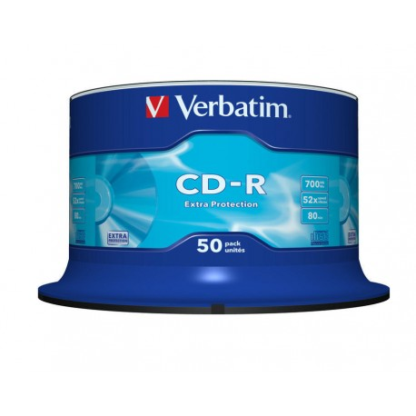 100 CD -R VERBATIM EXTRA PROTECTION 100 % VERGINI VUOTI 52X 700 mb cdr per AUDIO VIDEO